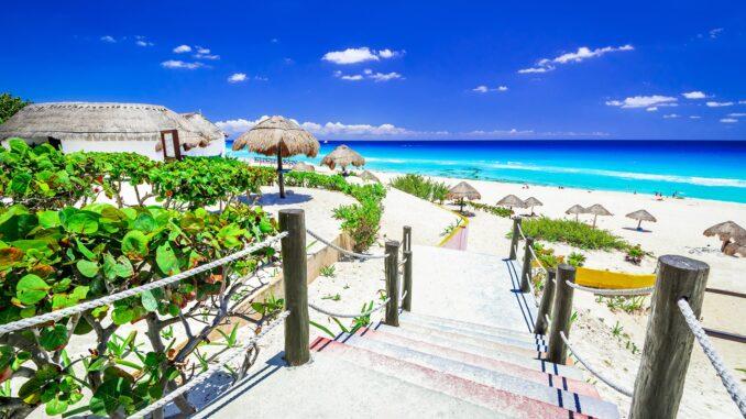 Tropical beach in Cancun Mexico